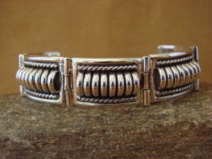Navajo Indian Jewelry Handmade Sterling Silver Link Bracelet by Thomas Charley