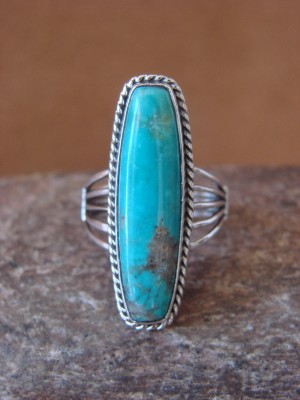 Native American Jewelry Sterling Silver Turquoise Ring! Size 7 1/2 Running Bear