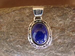Native American Jewelry Sterling Silver Lapis Pendant - Andrew Vandever - TT0127
