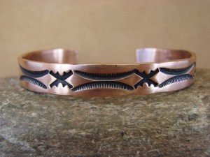 Navajo Indian Jewelry Handmade Stamped Copper Bracelet by NORA!