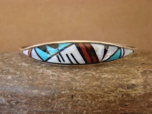 Zuni Indian Sterling Silver Turquoise, Coral, & Pearl Inlay Bracelet! QLB 5