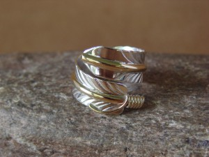 Navajo Indian Handmade Sterling Silver Gold Fill Feather Ring, Adjustable!
