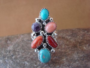 Navajo Indian Jewelry Sterling Silver 6 Stone Multi Gemstone Ring, Size 9 1/2