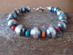 Navajo Indian Sterling Silver Hand Beaded Bracelet