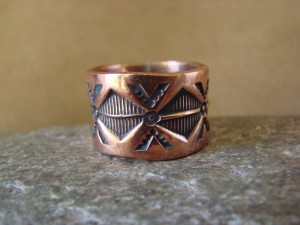 Navajo Indian Jewelry Copper Stamped Ring by Elroy Chavez, Size 10