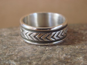 Native American Jewelry Sterling Silver Ring Band, Size 8 by Bruce Morgan!