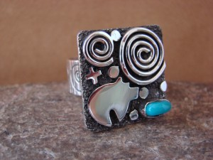 Native American Sterling Silver Turquoise Stamped Ring by Alex Sanchez Size 11