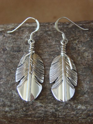 Navajo Indian Hand Stamped Sterling Silver Feather Earrings by Ben Begay!