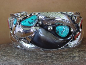 Navajo Indian Turquoise Coral Sterling Silver Bear Claw Bracelet - Elaine Sam HE315