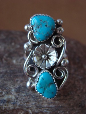 Native American Indian Jewelry Sterling Silver Turquoise Ring, Size 7 1/2  K. Jones