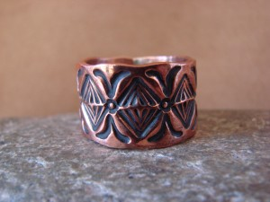 Navajo Indian Jewelry Copper Stamped Ring by Elroy Chavez, Size 12