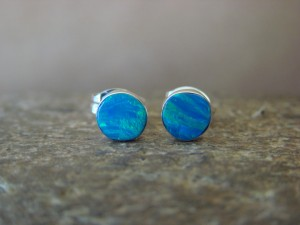 Native American Jewelry Sterling Silver Blue Opal Post Earrings! Zuni Indian
