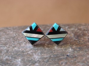 Zuni Indian Sterling Silver Multi-Stone Inlaid Square Post Earrings by Natachi