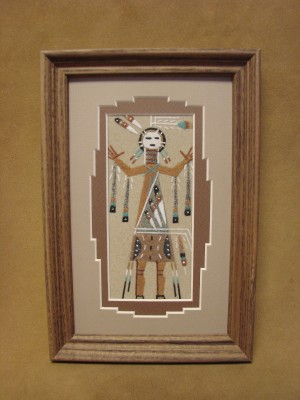 Native American Indian Authentic Navajo Sandpainting by Lester Johnson