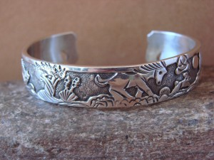 Native American Jewelry Sterling Silver Storyteller Horse Bracelet - Becenti BB0189