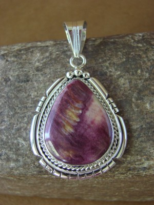Native American Jewelry Sterling Silver Purple Spiny Oyster Pendant - S. Yellowhair
