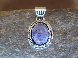 Native American Jewelry Sterling Silver Purple Spiny Oyster Pendant - Andrew Vandever - TT0131