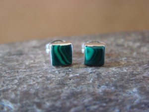 Native American Sterling Silver Square Malachite Post Earrings Zuni