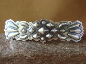 Native American Sterling Silver Hand Stamped Hair Barrette by Yazzie