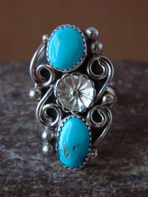 Native American Indian Jewelry Sterling Silver Turquoise Ring, Size 9 1/2  K. Jones