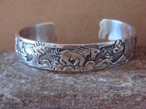 Native American Jewelry Sterling Silver Storyteller Horse Bracelet - Becenti BB0190