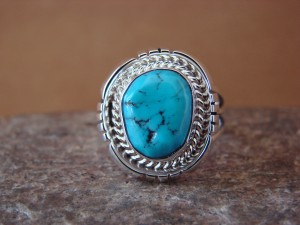 Native American Indian Jewelry Sterling Silver Turquoise Ring, Size 7 1/2   S. Yellowhair