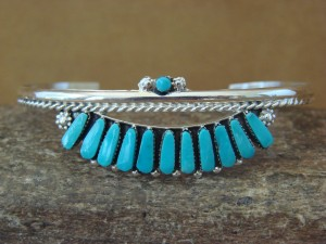 Zuni Indian Jewelry Sterling Silver Turquoise Cluster Bracelet Margie Eustace