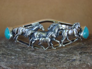 Navajo Indian Turquoise Sterling Silver Horse Bracelet - Platero