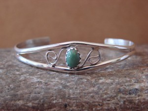 Navajo Indian Sterling Silver Green Turquoise Baby Bracelet by Judy Lincoln