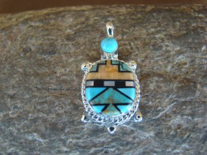 Zuni Indian Sterling Silver Turquoise, Coral Inlay Turtle Pendant! Bailey Gia TT0133