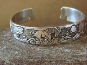 Native American Jewelry Sterling Silver Storyteller Horse Bracelet - Becenti BB0191