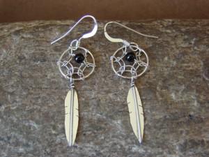 Navajo Indian Sterling Silver Onyx Dreamcatcher Dangle Feather Earrings!