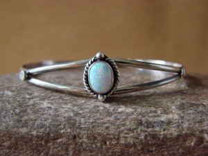 Navajo Indian Jewelry Sterling Silver Opal Bracelet by J. Mariano