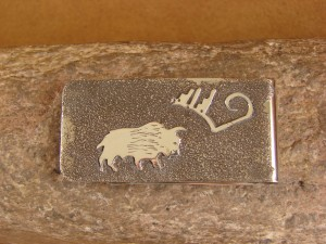 Navajo Indian Jewelry Hand Etched Buffalo Money Clip! R. Begay