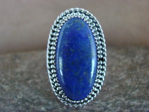 Navajo Indian Sterling Silver Lapis Ring, Size 9 - Thomas Yazzie
