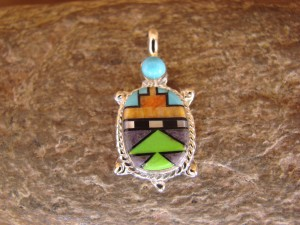 Zuni Indian Sterling Silver Turquoise, Coral Inlay Turtle Pendant! Bailey Gia TT0134