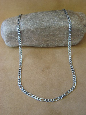 "Southwestern Jewelry Sterling Silver Figaro Chain Necklace 24"" Long x 3/16"""