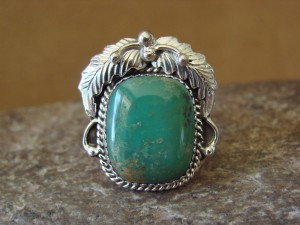 Native American Jewelry Sterling Silver Turquoise Ring! Size 9 Running Bear