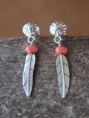 Native American Indian Jewelry Sterling Silver Coral Feather Earrings - Marvin Arviso
