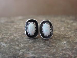 Native American Sterling Silver White Opal Post Earrings! Handmade!