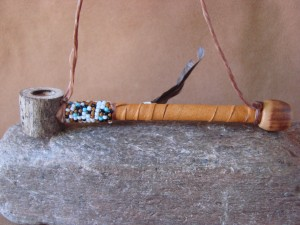 Native American Navajo Indian Handmade & Beaded Antler Peace Pipe