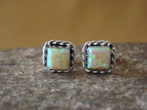 Zuni Indian Sterling Silver Square Opal Post Earrings by Leander Cachini