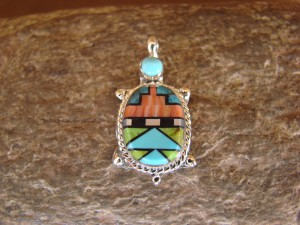 Zuni Indian Sterling Silver Turquoise, Coral Inlay Turtle Pendant! Bailey Gia TT0135