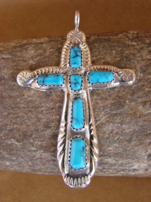 Zuni Indian Sterling Silver Turquoise Cross Pendant by C.Lule! Hand Stamped!