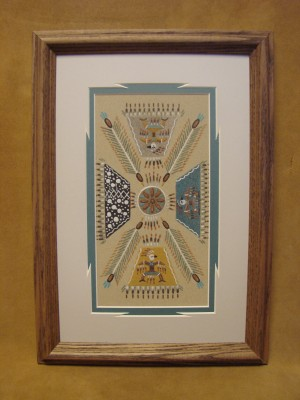 Native American Indian Authentic Navajo Sandpainting by Daniel Smith Jr.
