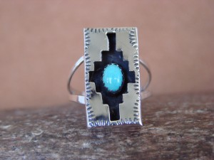 Navajo Indian Jewelry Turquoise Shadow Box Ring by Felix Perry! Size 8 1/2