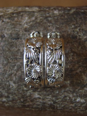 Navajo Indian Sterling Silver Flower Post Earrings by Tom Dinetso