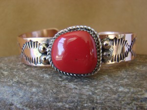 Native American Jewelry Copper Coral Bracelet by Jackie Cleveland!