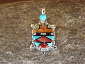 Zuni Indian Sterling Silver Turquoise, Coral Inlay Turtle Pendant! Bailey Gia TT0136