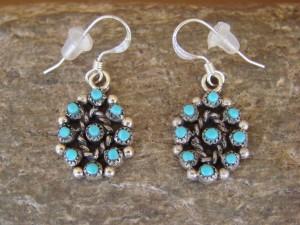 Native American Turquoise Cluster Dangle Earrings! Zuni Indian Jewelry